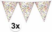3x confetti party thema vlaggenlijn / slingers 10 meter