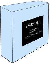iSleep Dubbel Jersey Hoeslaken - Litsjumeaux XL - 190x210/220 cm - Licht Blauw