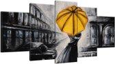 Schilderij handgeschilderd Liefde | Geel , Zwart , Grijs | 150x70cm 5Luik