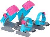 Nijdam Junior Glij-ijzers Verstelbaar - Pinguin - Blauw/Roze/Grijs