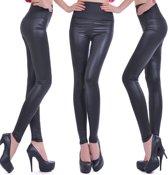 Leather Look Legging – Maat S – Satijn Zwart