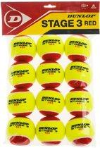 Dunlop STAGE 3 RE12POLYBAG - Geel/Rood - Tennisballen