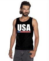 Zwart USA supporter mouwloos shirt heren - Amerika singlet shirt/ tanktop XL