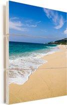 Zeewater van het Japanse eiland Yakushima in Japan Vurenhout met planken 60x90 cm - Foto print op Hout (Wanddecoratie)