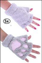 5x Vingerloze handschoenen pluche dierenpootje grijs