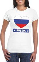 Rusland hart vlag t-shirt wit dames M