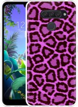 LG Q60 Hoesje Luipaard Paars Zwart