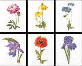 Thea Gouverneur Borduurpakket 3085 Bloemportretten 5 - Linnen stof