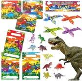 40 STUKS | Dinosaurus Traktatie / Uitdeel Kado's, bestaande uit: 10x Dinosaurus Uitdeelzakjes, 10x Dinosaurus Puzzel, 10x Dino Foam Vliegtuigen en 10x Dino figuur | Dino Uitdeelzakjes met cadeautjes voor 10 Kinderen