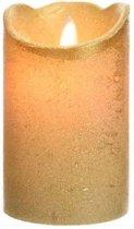 Gouden led kaars flakkerend 12,5 cm