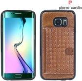 Pierre Cardin Backcover hoesje Bruin - Stijlvol - Leer - Galaxy S6 Edge  - Luxe cover