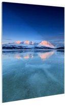 Zonsopkomst in de sneeuw Glas 120x180 cm - Foto print op Glas (Plexiglas wanddecoratie) XXL / Groot formaat!