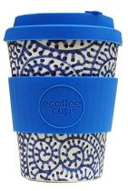 Ecoffee Cup Satsuko - Bamboe Beker - 340 ml - met Blauw Siliconen