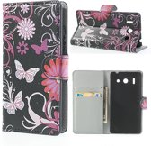 Huawei Ascend G510 Wallet Stand Case Butterfly Design