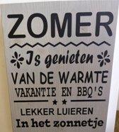 tekstbord zomer steigerhout grijs 30x40cm
