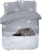 Nightlife Dekbedovertrek Peeking cat 200x200/220 - Polykatoen - Grijs