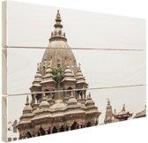 De tempel in Bhaktapur Hout 80x60 cm - Foto print op Hout (Wanddecoratie)