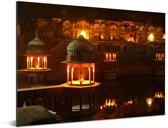 Stadspaleis van Alwar in Jaipur bij zonsondergang in Azië Aluminium 80x60 cm - Foto print op Aluminium (metaal wanddecoratie)