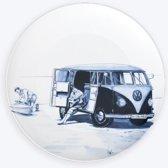 Wandbord Volkswagenbusje   Delfts blauw bord   sierbord   sierbord ophangen   porselein wandbord   Delftsblauw wandbord