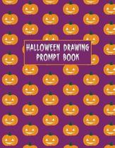 Halloween Drawing Prompt Book: 31 Prompts Perfect for Kids Teens and Adults Purple Pumpkin Cover