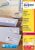 Avery witte laseretiketten QuickPeel doos van 100 blad formaat 991 x 381 mm (b x h) 1400 stuks 14 per blad