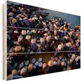 Vismarkt bij Hoi An in Vietnam Vurenhout met planken 90x60 cm - Foto print op Hout (Wanddecoratie)