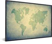 Wereldkaart modern groen  in lijst zwart 60x40 cm
