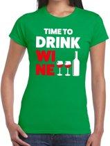Time to drink Wine tekst t-shirt groen dames - dames shirt  Time to drink Wine 2XL