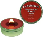 Cracklez® Knetterende Houten Lont Kaars in blik Red. Geurloos. Rood.