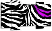 Canvas schilderij Abstract | Zwart, Wit, Paars | 120x65 5Luik