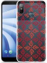 HTC U12 Life Hoesje Red Leaves Pattern