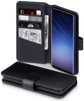 Hoesje voor Samsung Galaxy S9, echt lederen 3-in-1 bookcase, zwart