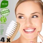 4 x Ecologische Bamboe Tandenborstel - Wit - Vegan Bamboo Tandenborstels Set van 4 - Milieuvriendelijk, Recyclebaar en Biologisch Afbreekbaar - Zacht / Medium