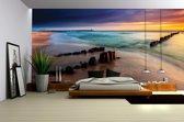 Fotobehang Papier Strand, Zee   Grijs   368x254cm