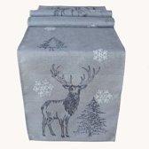Kerst tafelkleed hert kerstboom sneeuwvlok grijs Loper 175