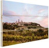Zonsopgang wijngaard Toscane Hout 60x40 cm - Foto print op Hout (Wanddecoratie)