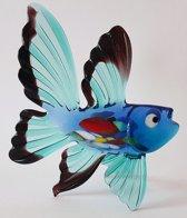 Beeld Vis van glas Design D Blauwe vinnen handgemaakt