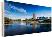 Rivier de Torrens in het Australische Adelaide Vurenhout met planken 120x80 cm - Foto print op Hout (Wanddecoratie)