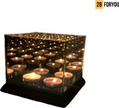 Infinity 4 Cube Waxinehouder - Waxinelichthouder Infinity Candle Light - Oneindig Spiegel Effect - Glas