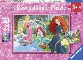 Ravensburger puzzel In de wereld van de Disney prinsessen - Twee puzzels - 12 stukjes - kinderpuzzel