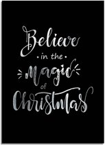 DesignClaud Kerstposter Believe in the magic of Christmas - Kerstdecoratie Zilver folie + zwart A2 + Fotolijst wit