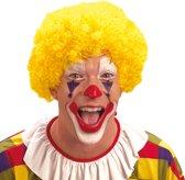 Pruik krullen clown geel