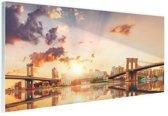 Twee bruggen New York Glas 90x60 cm - Foto print op Glas (Plexiglas wanddecoratie)
