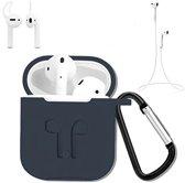 3 in 1 set! Hoesje voor Airpods siliconen case cover beschermhoes + strap + earhoox voor Apple Airpods - navy blauw