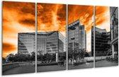 Glasschilderij Gebouw | Oranje, Grijs, Zwart | 160x80cm 4Luik | Foto print op Glas |  F002450