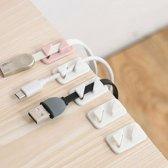 Kabel clips - 12 stuks - zelfklevend - kabel houders - wit - kabel organizer