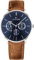 Tommy Hilfiger TH1710375 Horloge - Leer - Zilverkleurig - Ø 40 mm