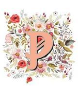 P Monogram Letter Floral Wreath Notebook