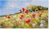 Klaprozen Bloemenveld - Bloemen - Schilderij op Canvas