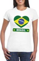 Brazilie hart vlag t-shirt wit dames L